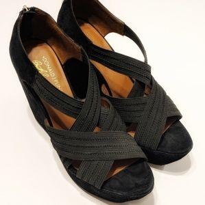 Donald J Pliner Black Suede Open Toe Platform Heel
